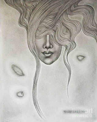 Drawing - Floating Sorrow by Fei A