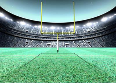 Turf Digital Art - Floodlit Stadium Night by Allan Swart