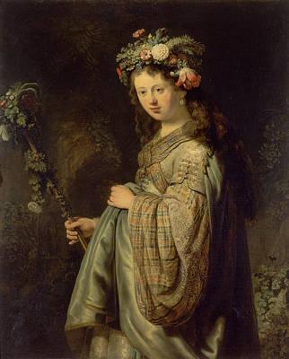 Fertility Painting - Flora by Rembrandt van Rijn