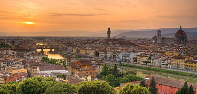 Florence Sunset Art Print by Mick Burkey