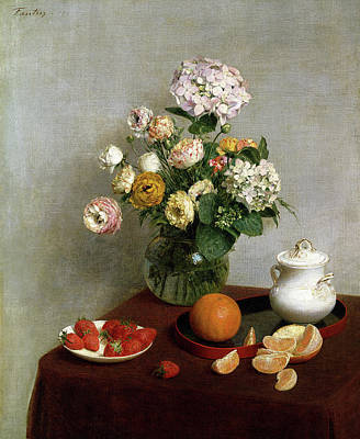 Painting - Flowers And Fruit by Henri Fantin Latour
