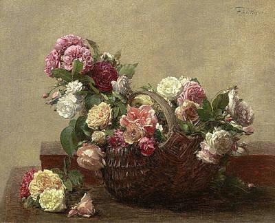 Still Life Painting - Flowers by Henri Fantin