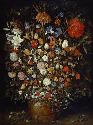 Painting - Flowers In A Wooden Vessel by Jan Brueghel the Elder