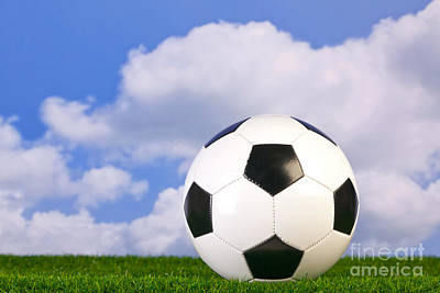 Ground Level Photograph - Football On Grass by Richard Thomas