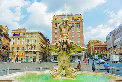Photograph - Fountain In Piazza Barberini In Rome, Italy. by Marek Poplawski