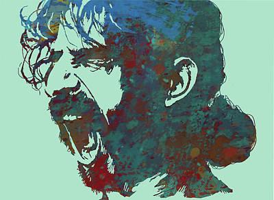 Guitar Mixed Media - Frank Zappa Stylised Pop Art Drawing Potrait Poser by Kim Wang