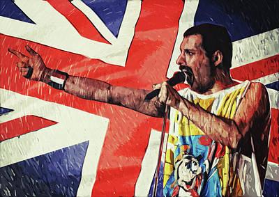 Led Zeppelin Digital Art - Freddie Mercury by Taylan Apukovska