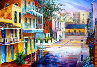 New Orleans Oil Painting - French Quarter Sunrise by Diane Millsap