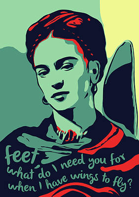 Folk Art Digital Art - Frida Kahlo by Greatom London