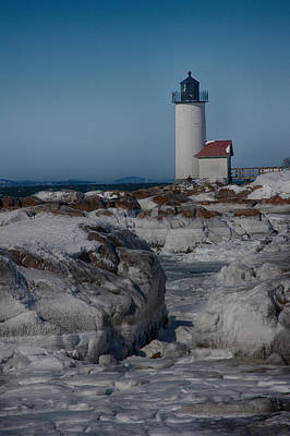 Photograph - Frozen Annisquam Lighthouse by Jeff Folger