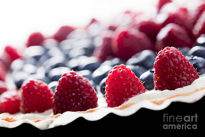 Baked Photograph - Fruit Tart With Fresh Raspberry And Blueberry by Michal Bednarek
