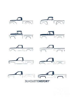 Truck Digital Art - Fullsize Pickup Silhouettehistory by Balazs Iker
