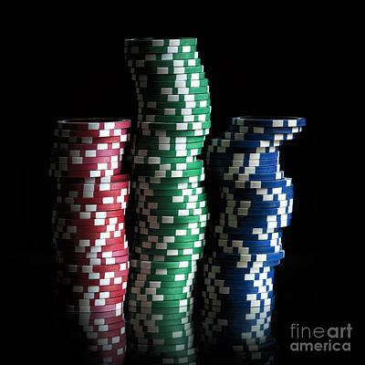 Green Color Photograph - Gambling Chip. by Bernard Jaubert