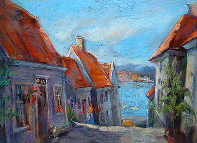 North Sea Painting - Gamle Bergen by Joan  Jones