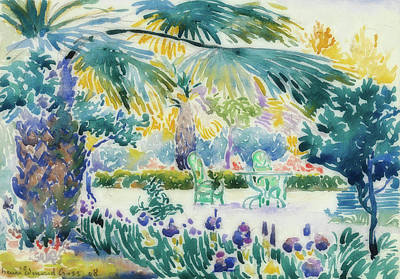 Pointillism Drawing - Garden Of The Painter At Saint Clair by Henri-Edmond Cross