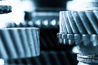 Gears, Grunge Cogwheels, Real Engine Elements Close-up. Heavy Industry Art Print