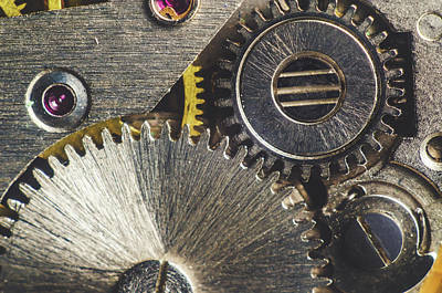 Silver Component Jewelry Photograph - Gearwheel From Old Clock by Y K