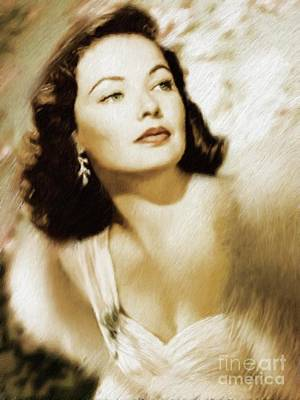 Musician Royalty-Free and Rights-Managed Images - Gene Tierney, Vintage Actress by Mary Bassett