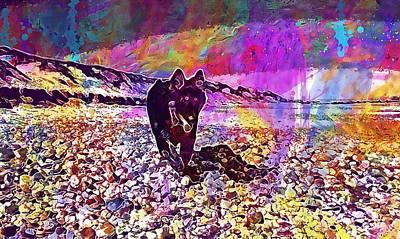 Digital Art - German Shepherd Dog Pet Animal  by PixBreak Art