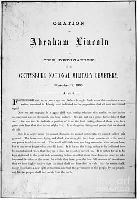 Lincoln Photograph - Gettysburg Address, 1863 by Granger