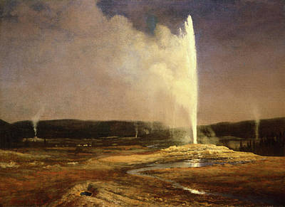 Yellowstone Wall Art - Painting - Geysers In Yellowstone by Albert Bierstadt