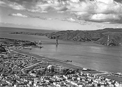 Photograph - Gg Bridge Under Construction by Underwood Archives