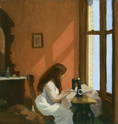 Sewing Machine Painting - Girl At Sewing Machine by Mountain Dreams