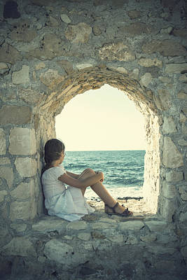 Contemplative Photograph - Girl At The Sea by Joana Kruse
