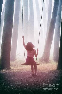 Girl In Swing Art Print by Carlos Caetano