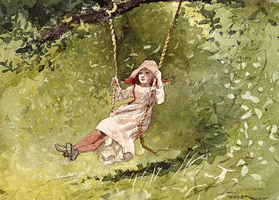 Winslow Homer Drawing - Girl On A Swing by Winslow Homer