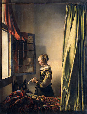 Interior Scene Painting - Girl Reading A Letter By An Open Window by Johannes Vermeer