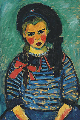 Munich Painting - Girl With Red Ribbon by Alexej von Jawlensky