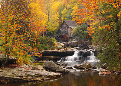 Glade Creek Grist Mill - Fall Art Print by Harold Rau