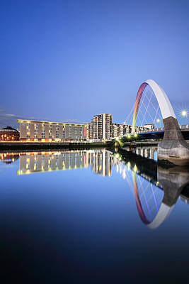 Photograph - Glasgow Clyde Arc Reflection by Grant Glendinning
