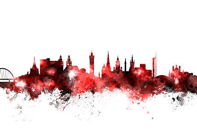 Great Britain Digital Art - Glasgow Scotland Skyline by Michael Tompsett