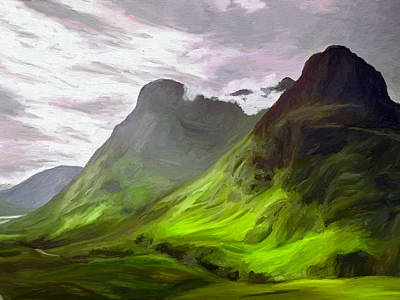 Mountain Valley Painting - Glen Coe by James Shepherd