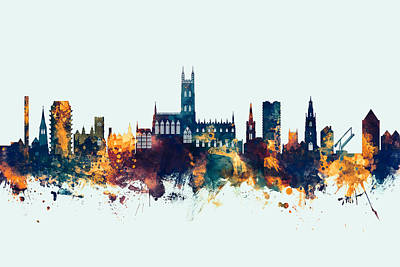 Digital Art - Gloucester England Skyline by Michael Tompsett