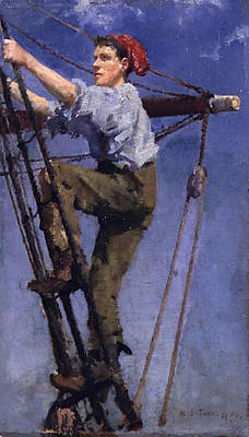 Print featuring the painting Going Aloft by Henry Scott Tuke