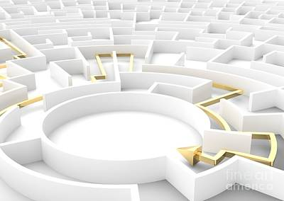 Escape Photograph - Gold Arrow Going Through Maze Showing A Solution. Business Strategy Concepts. by Michal Bednarek