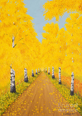 Colorful Contemporary Painting - Golden Autumn by Veikko Suikkanen