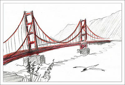 Drawing - Golden Gate Bridge by Masha Batkova