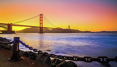 Photograph - Golden Gate Bridge San Francisco California At Sunset by Alex Grichenko