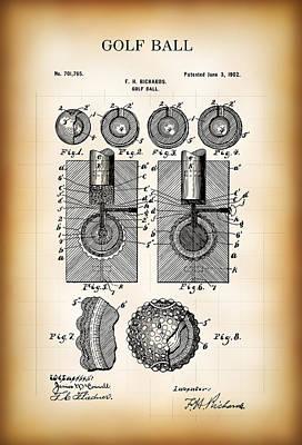 Putt-putt Digital Art - Golf Ball Patent  1902 by Daniel Hagerman