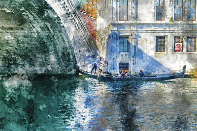 Old Town Digital Art - Gondola In Venice Italy by Brandon Bourdages