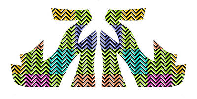 Platform Shoe Painting - Goodie Two Shoes - Chevron by Judith Gries
