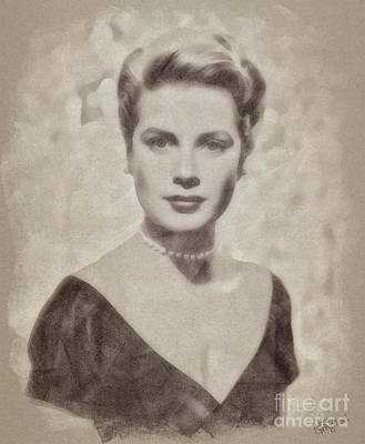 Musicians Drawings Rights Managed Images - Grace Kelly, Actress and Princess Royalty-Free Image by Esoterica Art Agency
