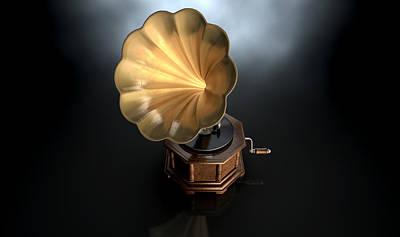 Vinyl Record Digital Art - Gramophone Dark Background by Allan Swart