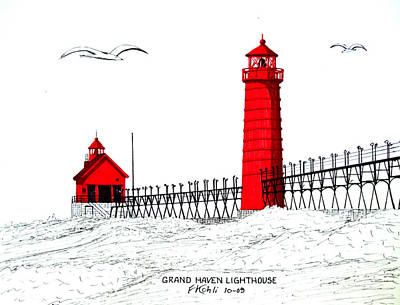 Drawing - Grand Haven Lighthouse by Frederic Kohli