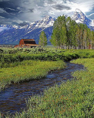 Photograph - Grand Tetons And Barn by Anthony Dezenzio