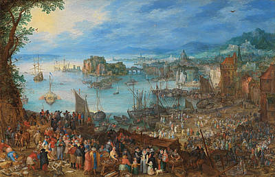 Markets Painting - Great Fish Market by Jan Brueghel the Elder